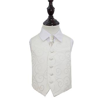 Boy's Ivory Scroll Patterned Wedding Waistcoat & Cravat Set