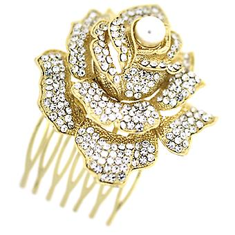 Bridal Hair Accessories Large Crystal Gold & Pearl Rose Flower Hair Comb