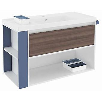 Bath+ 1 Drawer Cabinet + Shelf With Resin Basin Fresno-White-Blue 100cm