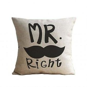 Wellindal Mr Right Moustache Cushion Cover Cotton (Textile , Child's , Cushions)
