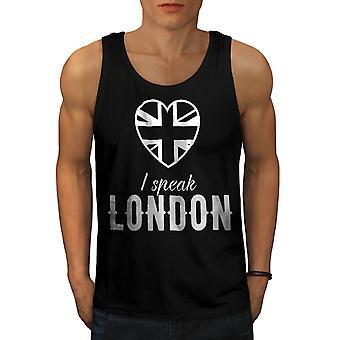Speak British UK London Men Black Tank Top | Wellcoda