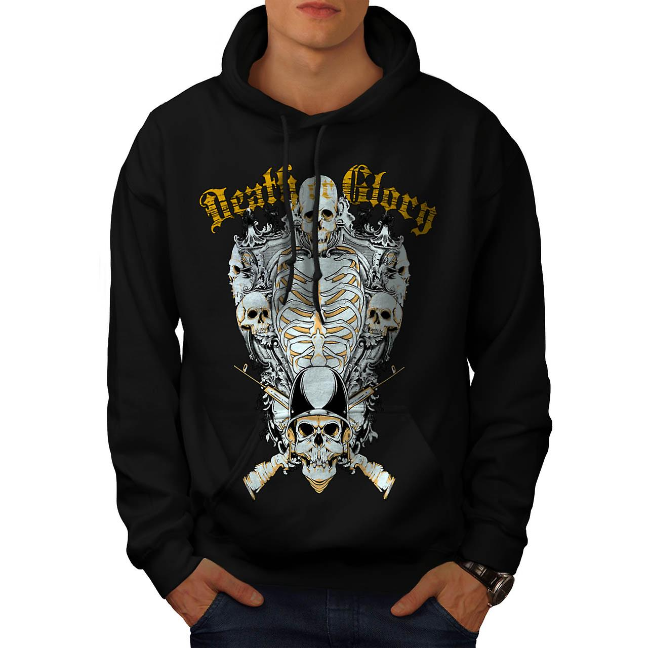 Death Glory Grave Gun Skull Army Men Black Hoodie | Wellcoda