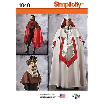 SIMPLICITY MISSES' AND MEN'S CAPE COSTUMES-XS-S-M-L-XL US1040A