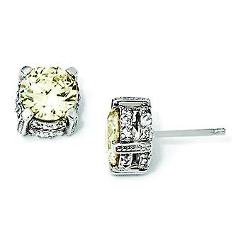 Sterling Silver 8mm Canary CZ Stud Earrings