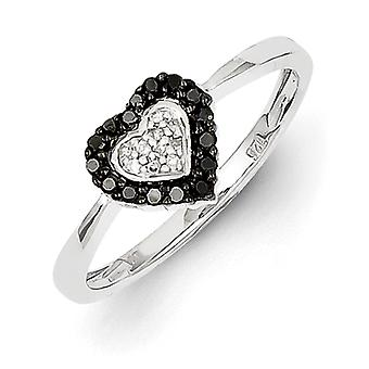 Sterling Silver Rhodium Plated Black and White Diamond Heart Ring - Ring Size: 6 to 8