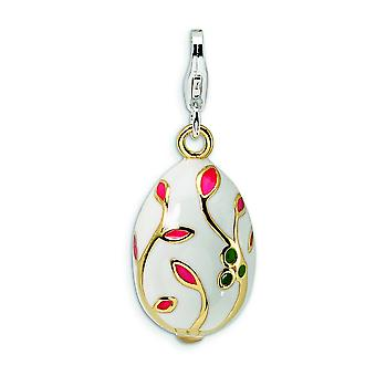 Sterling Silver 3-D Enameled Gold-plated White Egg With Lobster Clasp Charm - Measures 31x12mm