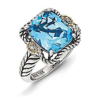 Sterling Silver With 14k Antiqued Lt Swiss Blue Topaz and Diamond Ring - Ring Size: 6 to 8