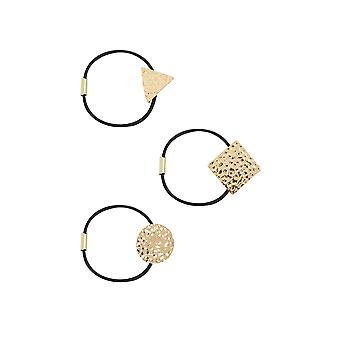 3 PACK Black & Gold Hairbands With Metal Shape Attachments