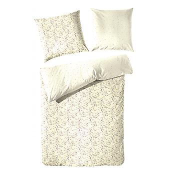 COCK renforcé - reversible bed linen cream flowers 135 x 200 cm