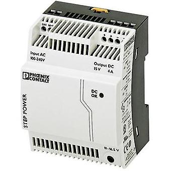 Rail mounted PSU (DIN) Phoenix Contact STEP-PS/1AC/15DC/4 15 Vdc 4 A 60 W 1 x