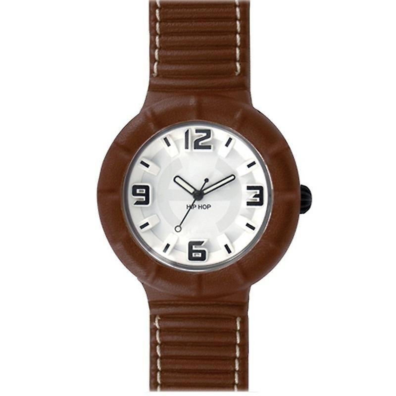 Hip Hop Uhr Silikonuhr leather large HWU0206 marrone dorato