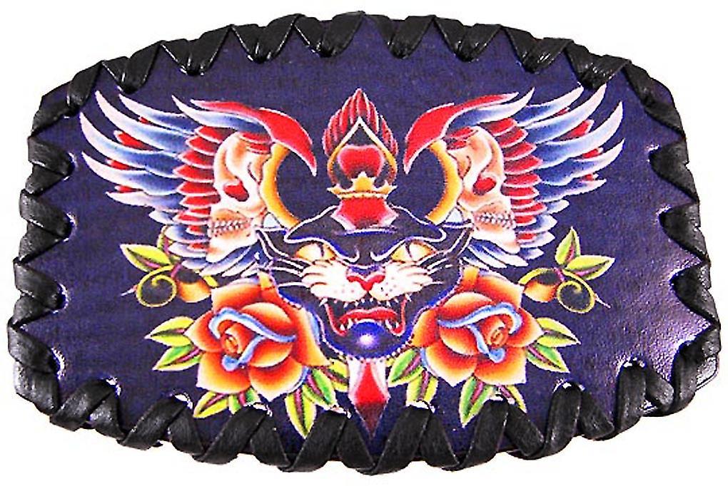 Tattoo Skulls & Black Cat Leather Belt Buckle
