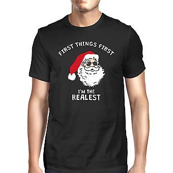 Realistische Santa zwarte mannen T-shirt cadeau grappige kerstshirt