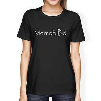 MamaBird Women's Black Short Sleeve Top Simple Letter Printed