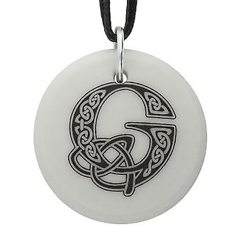Handmade Celtic Initial Round Shaped Porcelain Pendant - Letter 'G' ~ 36 inch Black Cord