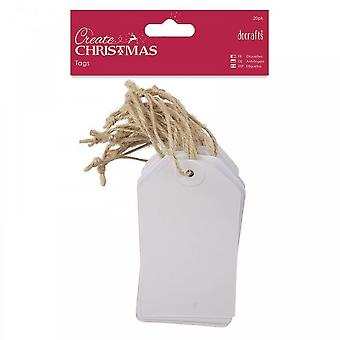 DoCrafts Create Christmas White Kraft Tags***