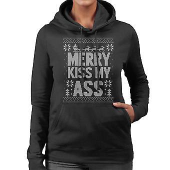 Merry Kiss My Ass Christmas Knit Pattern Women's Hooded Sweatshirt