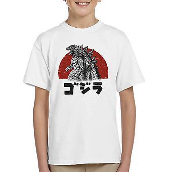 Godzilla Rising Sun Backdrop Kid's T-Shirt