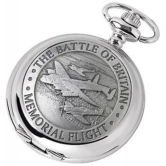 Woodford Memorial Flight chromé complet Hunter Quartz montre de poche - argent