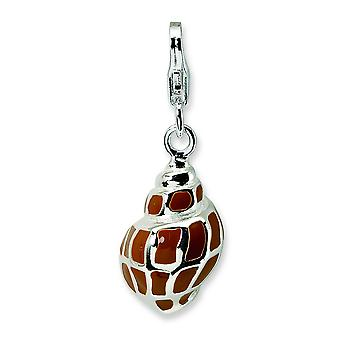 Sterling Silver 3-D Enameled Shell With Lobster Clasp Charm - 3.6 Grams - Measures 27x10mm
