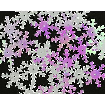 30 White Iridescent Sequin Snowflakes - 24mm | Sequin Craft Supplies