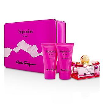 Salvatore Ferragamo Signorina i Fiore Coffret: Eau De Toilette Spray 50ml/1,7 oz + Body Lotion 50 ml/1,7 oz + dusch Gel 50 ml/1,7 oz 3st