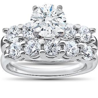 Anello di fidanzamento diamante ct 2 3/4 corrispondenza cinque pietra matrimonio fascia in oro bianco 14k