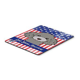 God Bless American Flag with Silver Gray Poodle Mouse Pad, Hot Pad or Trivet
