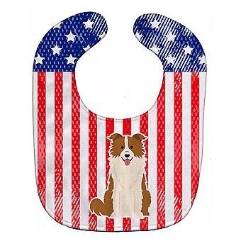 Carolines Treasures  BB3114BIB Patriotic USA Border Collie Red White Baby Bib