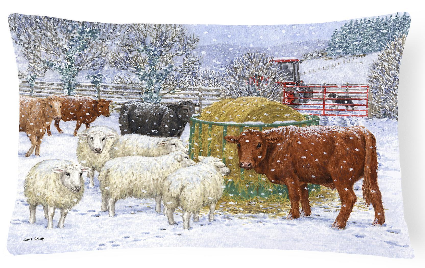 Dans Et Oreiller Vaches La Tissu Moutons Décoratif Neige PkTOXuwZi