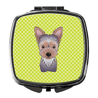 Checkerboard Lime Green Yorkie Puppy Compact Mirror