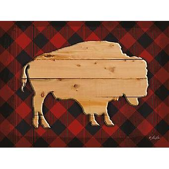 Wood and Plaid Buffalo Poster Print by Lauren Rader (16 x 12)