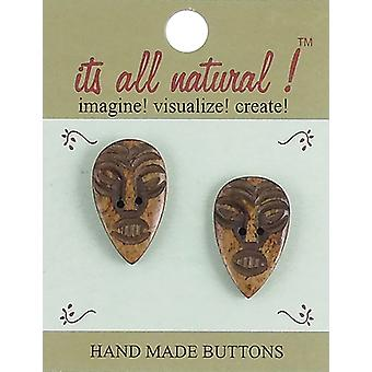 Handmade Bone Buttons-Ethnic African Face 1-1/4