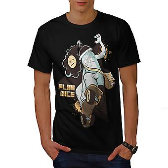 Play Nice Skate Fashion Men BlackT-shirt | Wellcoda