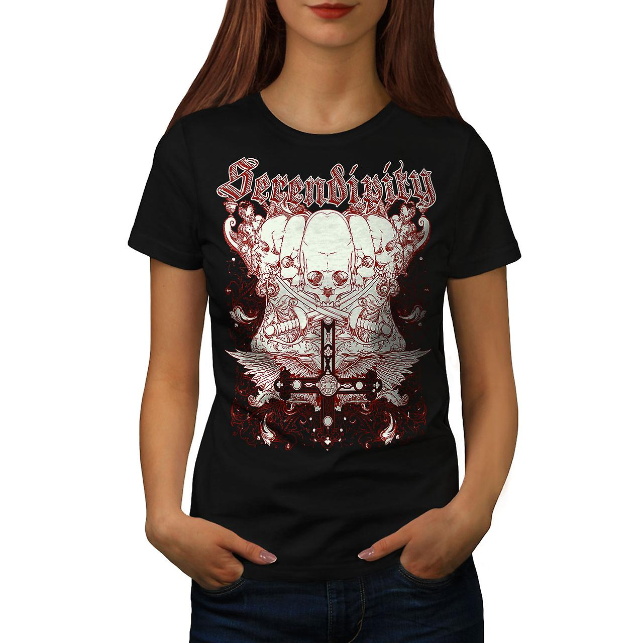Sword Death Skull Women Black T-shirt | Wellcoda