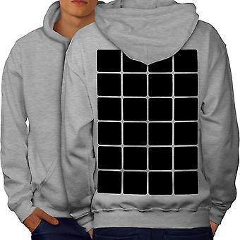Square Stylish Pattern Men GreyHoodie Back | Wellcoda