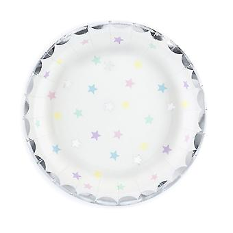 Pretty Silver Pastel Star Paper Plates Pack of 6 Unicorn Birthday Party