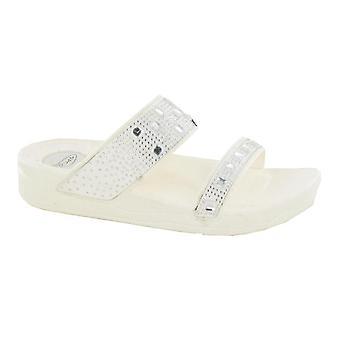 Ladies Womens Low Wedge Heel Diamante Bar Slip On Mule Sandals Shoes