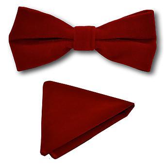 Luxury Red Velvet Bow Tie & Pocket Square Set