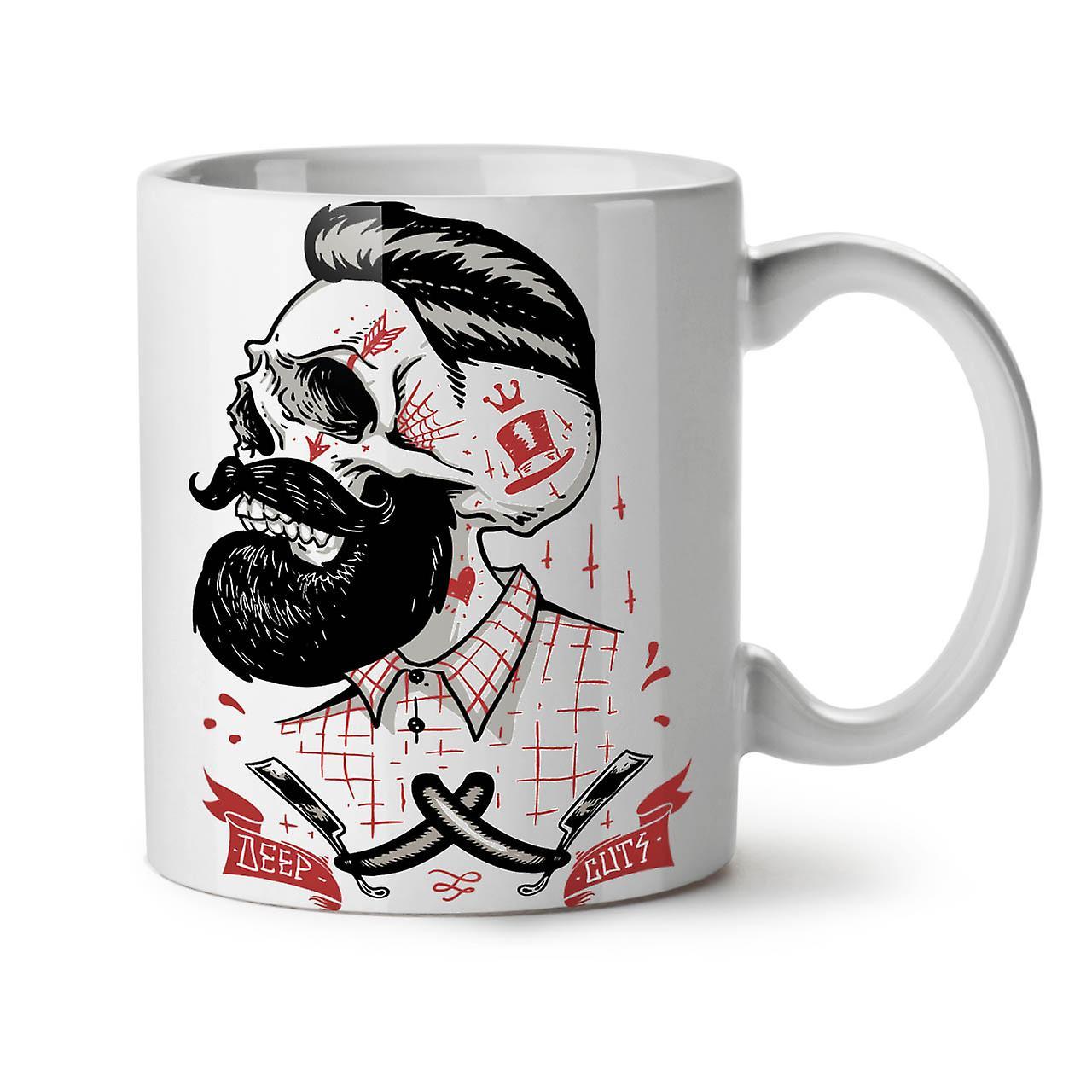 New Ceramic Mug Skull Tea 11 Coffee Hippie Beard OzWellcoda White fIY76gbyv