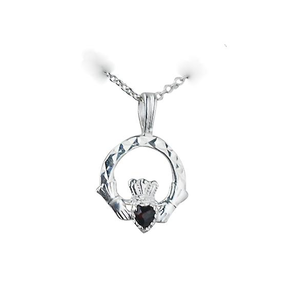 Silver 20x15mm Garnet set Claddagh Pendant with a Rolo chain