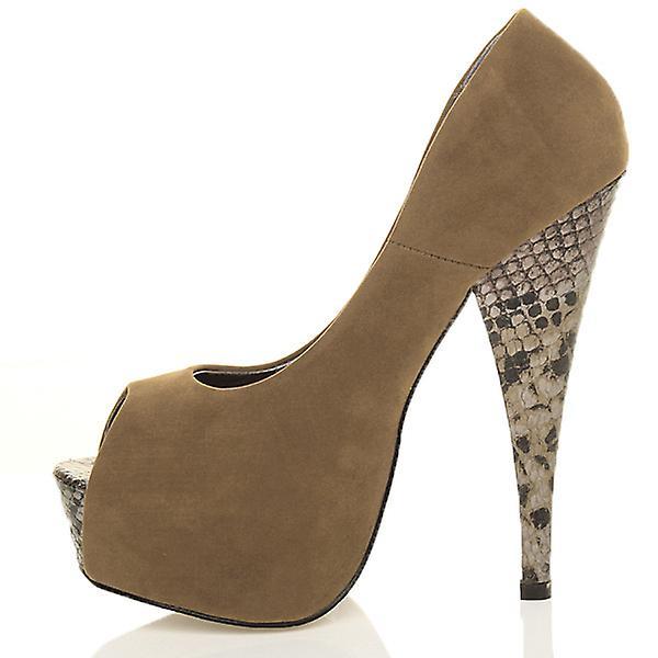 Ajvani womens high heel classic party evening peep toe court shoes sandals