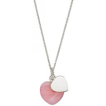 Beginnings Quartz Double Heart Necklace - Silver/Pink