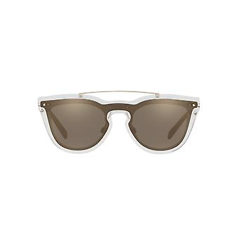 Valentino Keyhole Double Lens Sunglasses In Transparent Light Gold Mirror