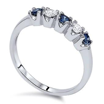 1/4ct Treated Blue & White Diamond 5-Stone Wedding Womens Ring 10K White Gold