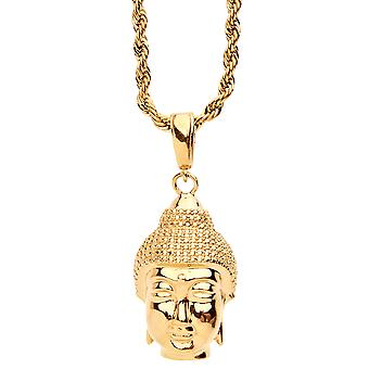 ORO LAMINADO fashion ketting - gouden BOEDDHA hoofd