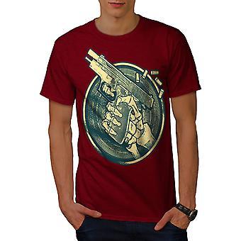 Pistol Skeleton Hand Men RedT-shirt | Wellcoda