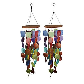 Set di due 26 pollici lungo Capiz Shell Hanging Wind Chimes