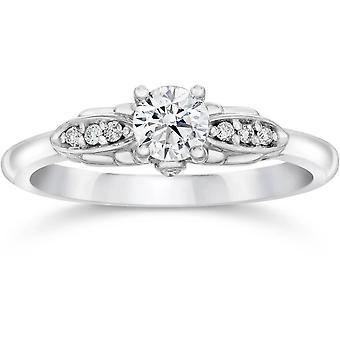 1/2ct Diamond Vintage Engagement Ring 14K White Gold