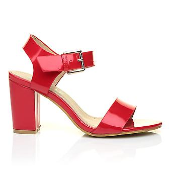 CARRIE Red Patent PU Leather High Block Heel Peep Toe Ankle Strap Party Sandals